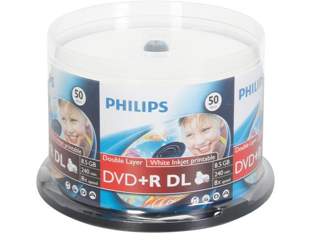 PHILIPS 8.5GB 8X DVD+R DL White Inkjet Hub Printable Clear Hub 50 Packs Spindle Disc Model DR8I8B50P/17