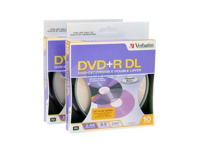 Verbatim 8.5GB 2.4X - 6X DVD+R DL 10 pack x 2 Double Layer Disc Model 95166-20