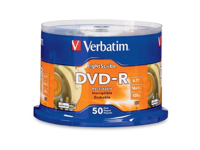 Verbatim 4.7GB 16X DVD-R LightScribe 50 Packs Disc Model 96166