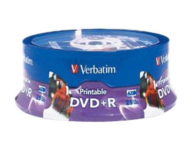 Verbatim 4.7GB 16X DVD+R Inkjet Printable, Hub Printable 25 Packs White Media Model 96190