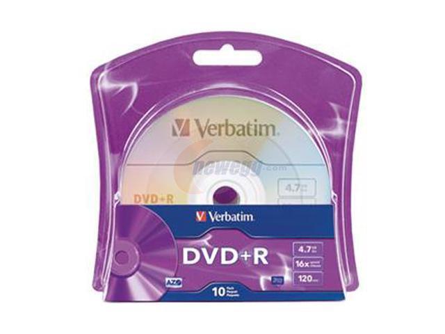 Verbatim 4.7GB 16X DVD+R 10 Packs Disc Model 96942