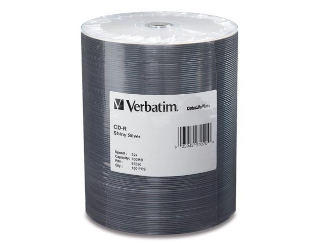Verbatim DataLifePlus 700MB 52X CD-R 100 Packs Media Model 97020