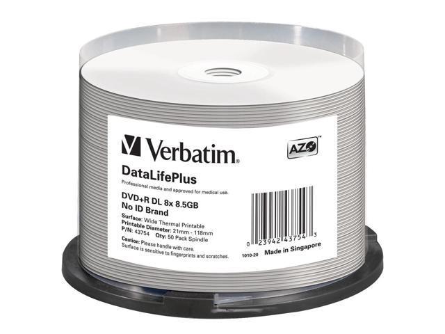 Verbatim DataLifePlus 43754 DVD Recordable Media - DVD+R DL - 8x - 8.50 GB - 50 Pack Spindle