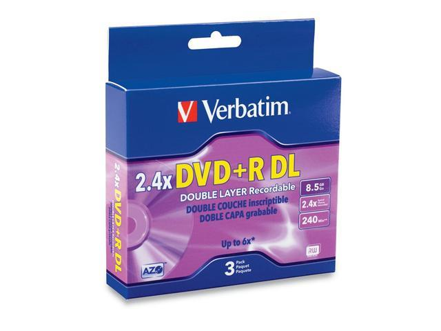 Verbatim 8.5GB 2.4X DVD+R DL 3 Packs Disc Model 95014