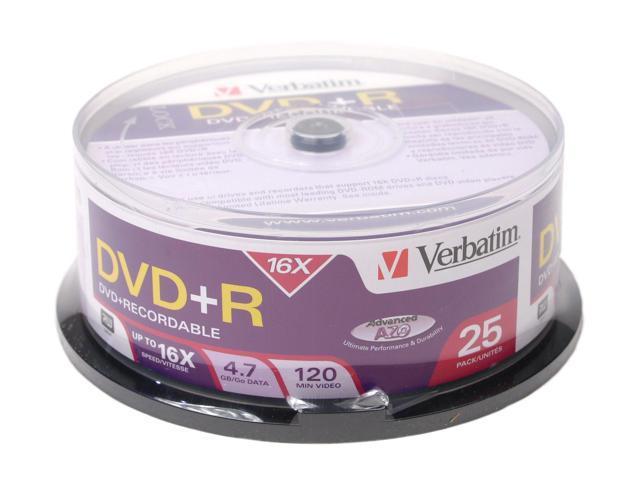 Verbatim 4.7GB 16X DVD+R 25 Packs Disc Model 95033
