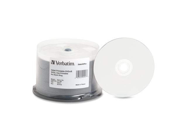 Inkjet Printable DVD+R Discs 4.7GB 16x Spindle White 50/Pack