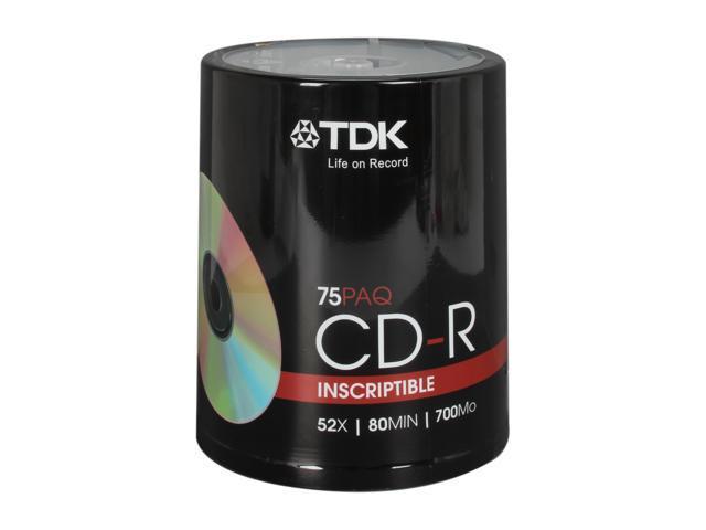 TDK 700MB 52X CD-R 75 Packs Disc Model 61935