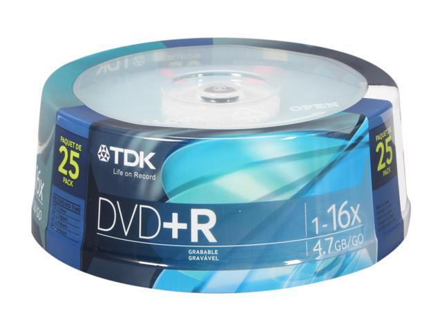 TDK 4.7GB 16X DVD+R 25 Packs Disc Model 48508