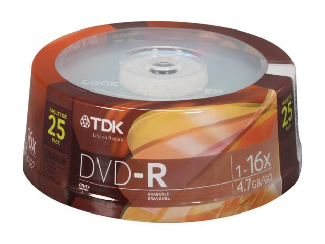 TDK 4.7GB 16X DVD-R 25 Packs Disc Model 48517