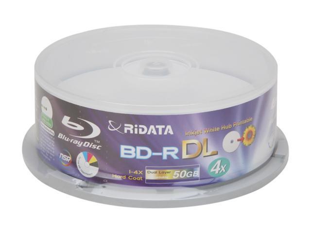 RiDATA 50GB 4X BD-R DL Inkjet White Hub Printable 15 Packs Disc Model BDR-504-RDIWN-CB15