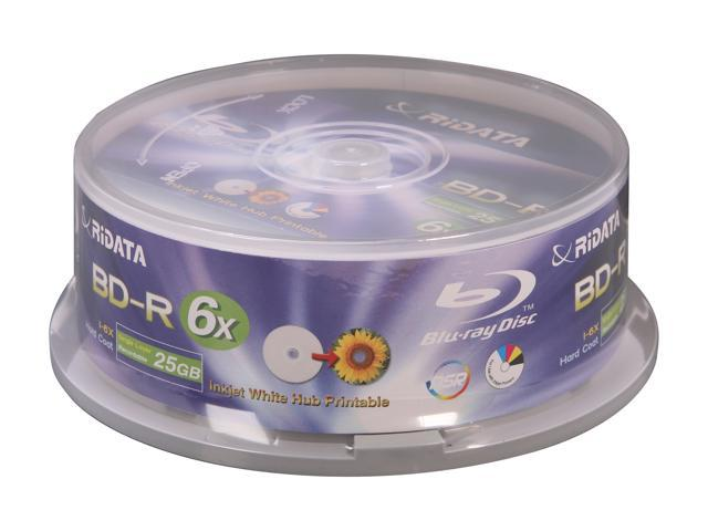RiDATA 25GB 6X BD-R Inkjet White Hub Printable 25 Packs Disc Model BDR-256-RDIWN-CB25