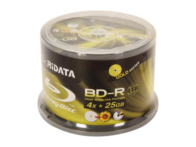 RiDATA 25GB 4X BD-R Inkjet white hub-printable 50 Packs Disc, Low-to-High Model BDR-254-RDIWNCB50L