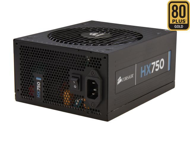 CORSAIR HX Series HX750 750W ATX12V 2.3 / EPS12V 2.91 SLI Ready CrossFire Ready 80 PLUS GOLD Certified Modular Active PFC Power Supply New 4th Gen CPU Certified Haswell Ready