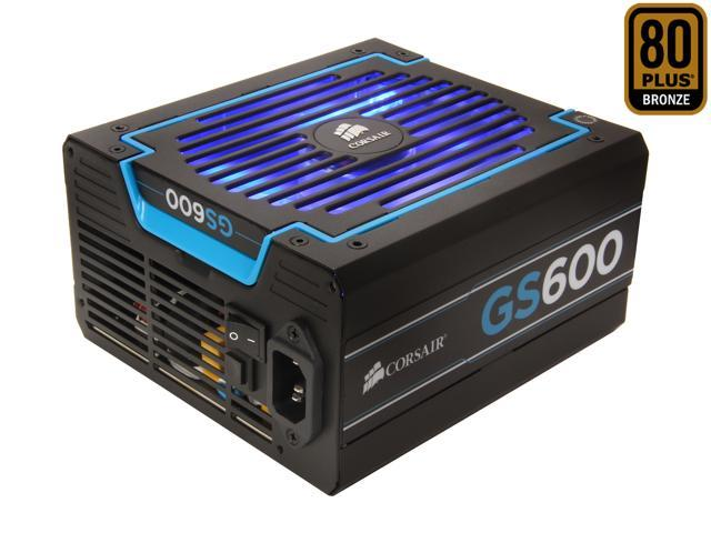 CORSAIR GS series GS600 600W ATX12V v2.3 SLI Ready CrossFire Ready 80 PLUS BRONZE Certified Active PFC Power Supply New 4th Gen CPU Certified Haswell Ready