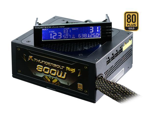 Thortech Thunderbolt PLUS 800W TTB800G ATX 12V v2.3 / EPS 12V v2.91 SLI Ready CrossFire Ready 80 PLUS GOLD Certified Modular Active PFC Power Supply