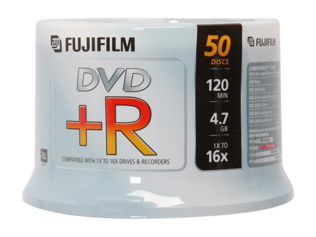 FUJIFILM 4.7GB 16X DVD+R 50 Packs Disc Model 25303051