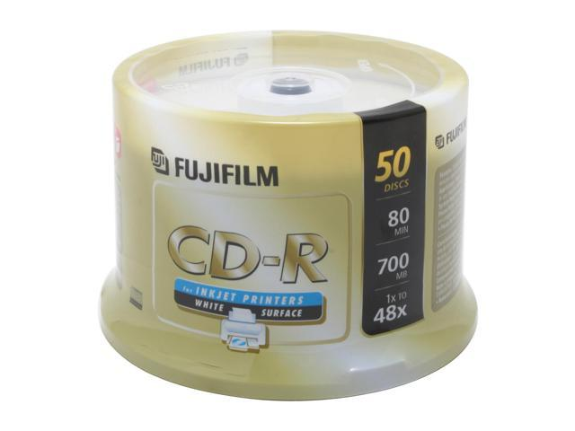 FUJIFILM 700MB 48X CD-R Inkjet Printable 50 Packs Disc Model 25307211