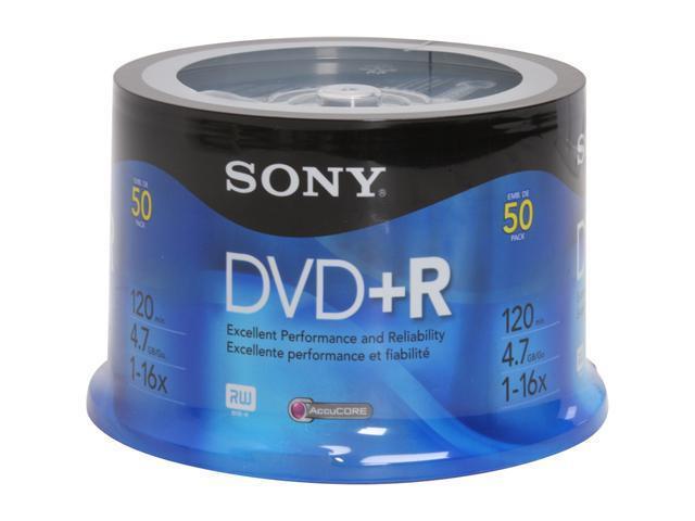 SONY 4.7GB 16X DVD+R 50 Packs Disc Model 50DPR47RS4