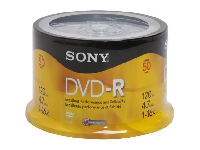 SONY 4.7GB 16X DVD-R 50 Pack Spindle Disc