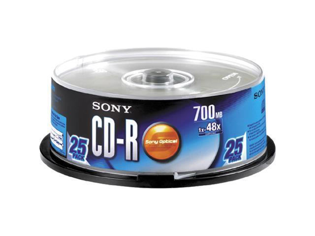 SONY 700MB 48X CD-R Inkjet Printable 25 Packs Media Model 25CDQ80RSP