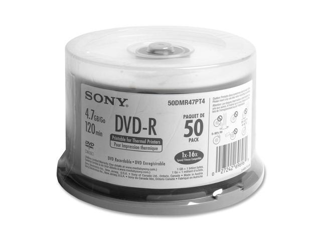 SONY 4.7GB 16X DVD-R Thermal Printable 50 Packs Disc Model 50DMR47PT4
