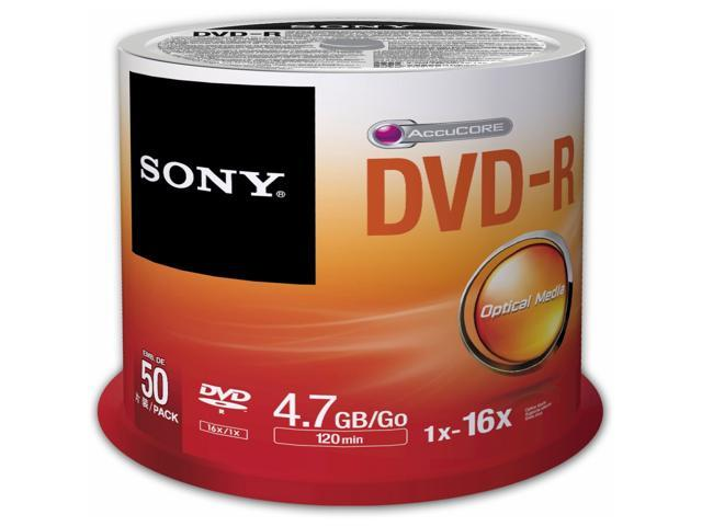 Sony 50DMR47SP 16X DVD-R 4.7GB Recordable DVD Media - 50 Packs Spindle