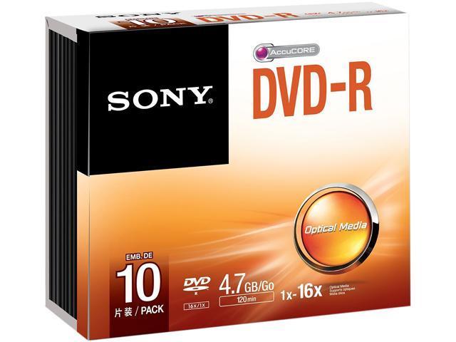 SONY 4.7GB 16X DVD-R 10 Packs Disc