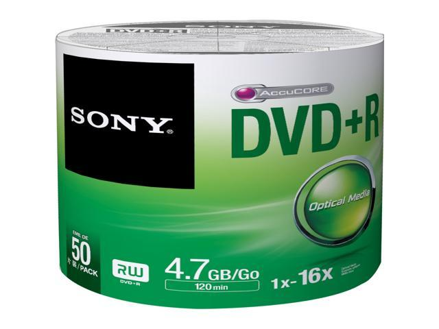 SONY 4.7GB 16X DVD+R 50 Packs Disc Model 50DPR47SB