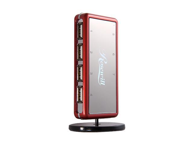 Rosewill RHUB-310R Red USB2.0 7 Port Shining Standing Hub With Power Adapter