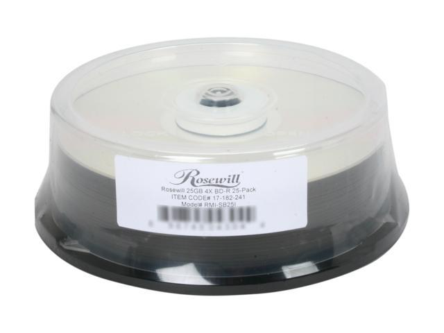 Rosewill RMI-SB25I – 25 GB 4X BD-R Compact Disc Spindle 25-Pack – OEM