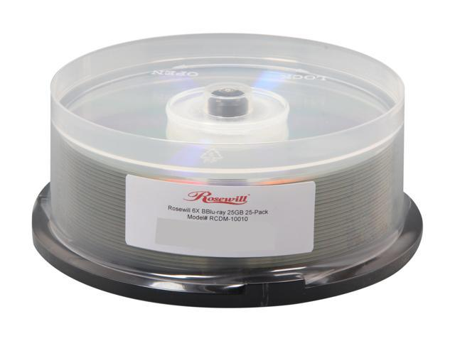 Rosewill RCDM-10010 – 25 GB 6X BD-R 25-Pack Blank Compact Disc Spindle – Blu-ray, Shiny Silver - OEM