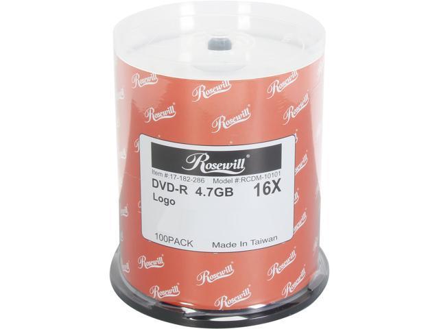 Rosewill 4.7GB 16X DVD-R 100 Packs Disc Model RCDM-10101 - OEM