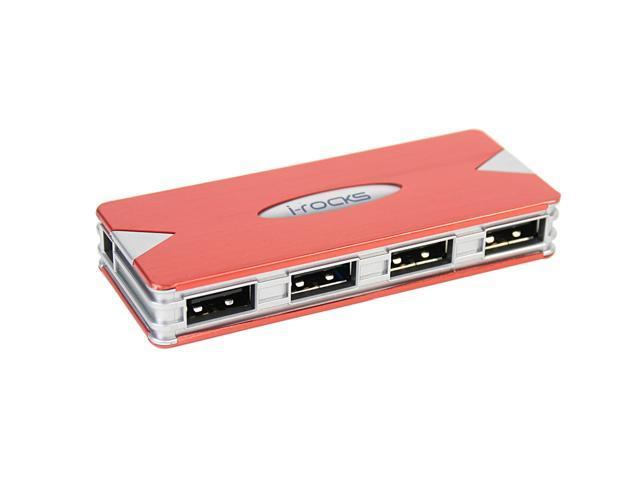 i-rocks IR-4100 RED 4-ports Aluminum USB Red Hub w/ Power Adapter