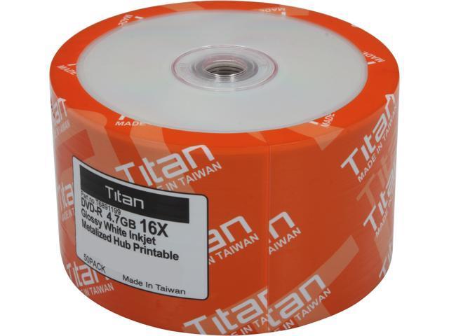 Titan 4.7GB 16X DVD-R White Inkjet Printable 50 Packs Disc Model T6891199
