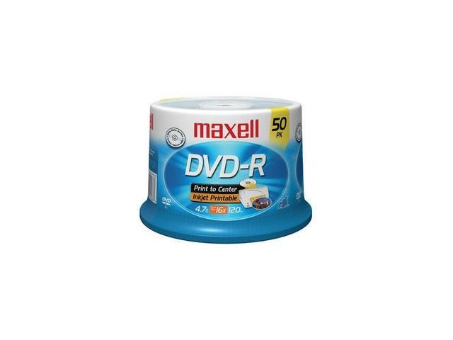 maxell 4.7GB 16X DVD-R White Inkjet Hub Printable 50 Packs Disc Model 638022