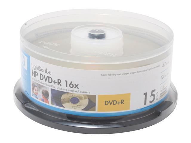 HP 4.7GB 16X DVD+R LightScribe 15 Packs Disc Model LDR00052XM