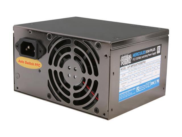 Athena Power Hercules AP-MPS3ATX55EP80 550W Single Micro PS3 Server Power Supply - 80PLUS