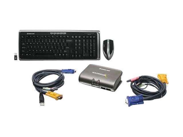 IOGEAR GCS1732-KM1 Black RF Wireless Slim 2-Port Dual Platform KVMP Switch w/ Wireless Keyboard and Mouse Kit