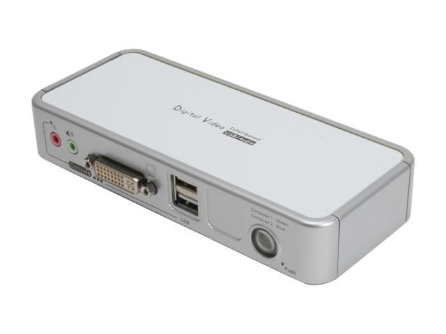 LINKSKEY LDV-212ASK 2-Port DVI + USB Audio & Mic KVM Switch w/ Cables