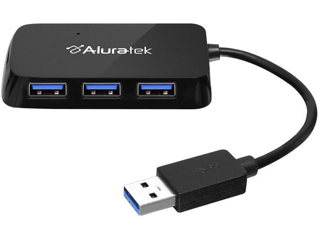 Aluratek AUH2304F 4-Port USB 3.0 SuperSpeed Hub with Attached Cable
