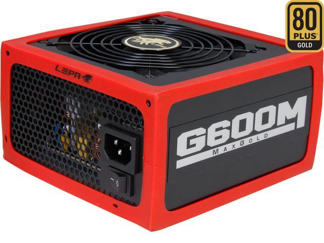 LEPA MaxGold G600-MB 600W ATX12V / EPS12V CrossFire Ready 80 PLUS GOLD Certified Active PFC Power Supply