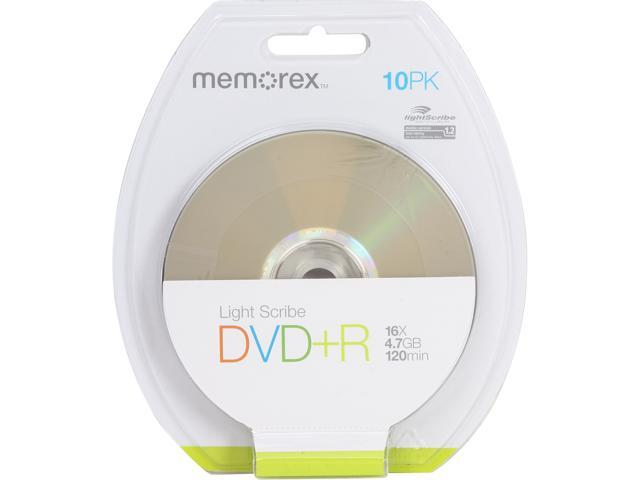 memorex 4.7GB 16X DVD+R LightScribe 10 Packs Disc Model 05527