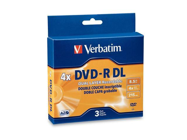 Verbatim 8.5GB 2X-4X DVD-R DL 3 Packs Disc Model 95165