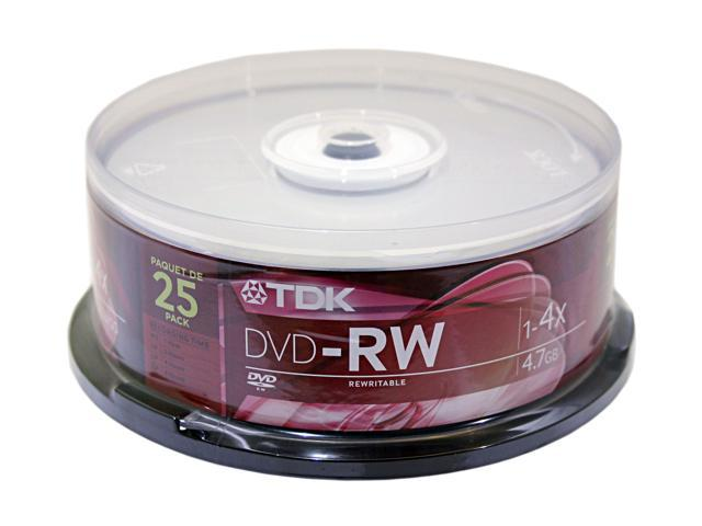 TDK 4.7GB 4X DVD-RW 25 Packs Disc Model 48464