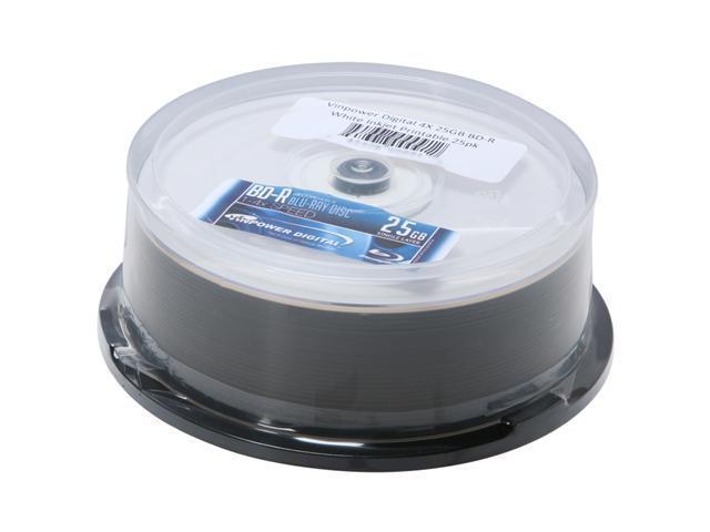 Vinpower Digital 25GB 4X BD-R White Inkjet Printable 25 Packs Disc Model VPBDR04WIP-25PK