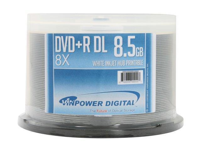 Vinpower Digital Optical Quantum 8.5GB 8X DVD+R DL White Inkjet Hub Printable 50 Packs Disc Model VPDPRDL08WIP