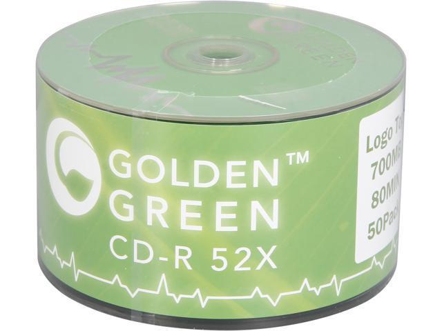 GoldenGreen 52x 80 MIN / 700 MB Logo Top CD-R Blank Media - 50 Packs Disc