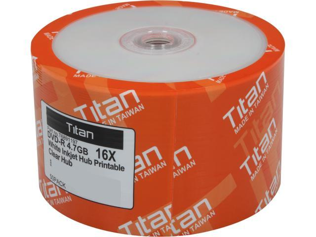 Titan 4.7GB 16X DVD-R White Inkjet Hub Printable 50 Packs Disc Model T6891197