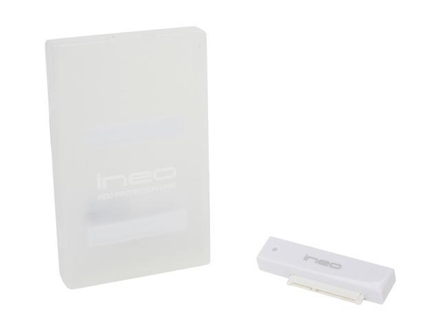 INEO I-NA216U Plus (Milky white) 2.5-Inch SATA USB 3.0/ USB 2.0 External Module with Protection Case