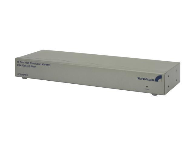 StarTech 16 Port High Resolution VGA Video Splitter - 400 MHz (Silver) ST1216PRO